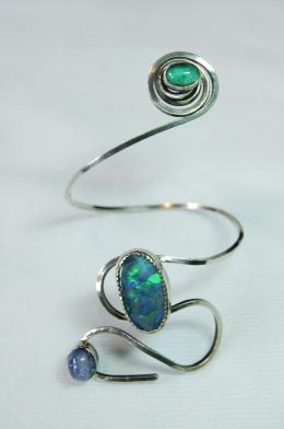 emerald, opal, tanzanite & silver bracelet