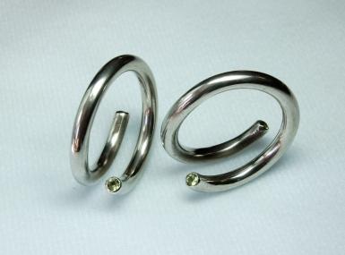 peridot & silver earrings