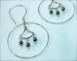glass beads & silver earrings