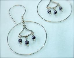 glass beads & silver earrings