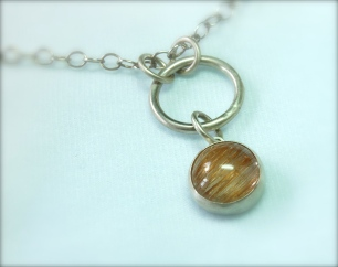 rutilated quartz & silver pendant