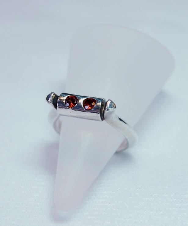 garnet & silver ring
